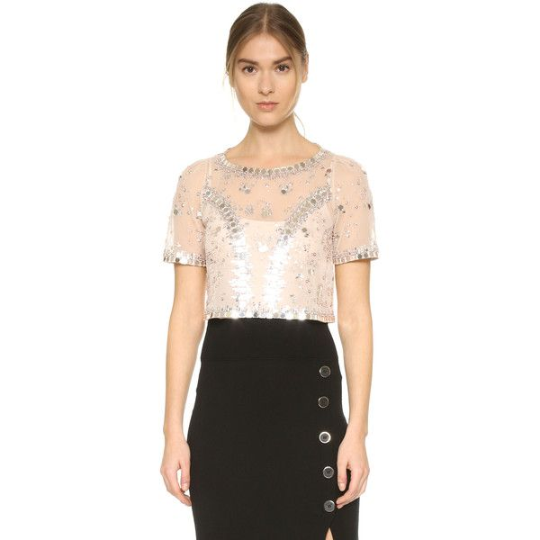 Temperley London Klementina Top ($2,010) ❤ liked on Polyvore featuring tops, nude, sparkly tops, beaded crop top, sequin crop top, short sleeve crop top and beaded top