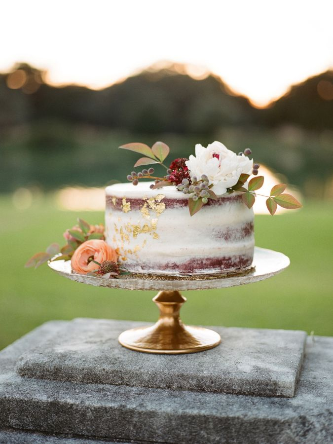 Naked wedding cake: http://www.stylemepretty.com/texas-weddings/houston/2017/03/06/this-is-how-you-bring-old-world-glamour-to-texas/ Photography: Davy Whitener - http://www.davywhitener.com/