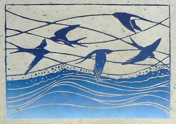 Swallows linocut print