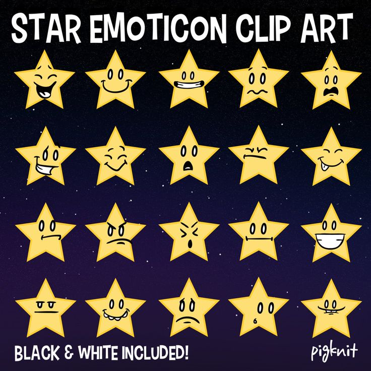 Star Emoticon Clip Art| #pigknit on Etsy