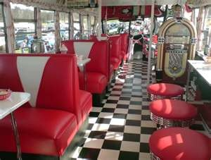 The 50's!! We ate in a diner last week that liked just like this!! Bit brought back lots of memories. The only difference was the price of hamburgers, fries and a coke,ha!!!