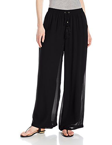 New Trending Pants: NY Collection Womens Solid Woven Palazzo Pant with Tassle Tie, Black, L. NY Collection Women's Solid Woven Palazzo Pant with Tassle Tie, Black, L   Special Offer: $49.00      277 Reviews Palazzo pant with tassle drawstring, enclosed elastic at waist and fully linedSolid woven palazzo pant with tassel tieGreat for the work place, a night out, and even every...