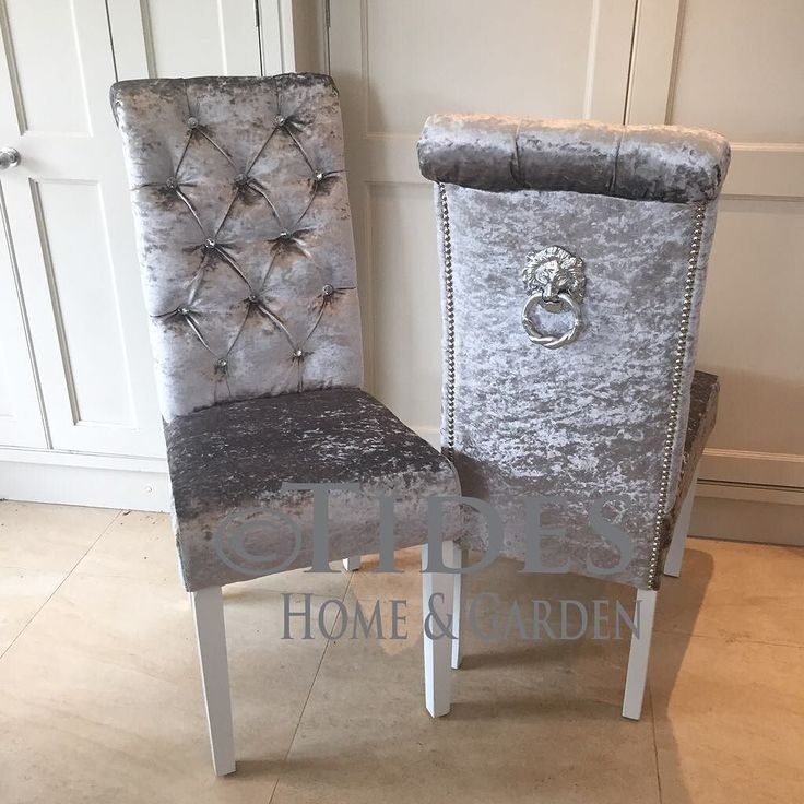 Crushed velvet dining chair with crystal buttons and lion pull ring on back with chrome studding. Available in lots of different colours #diningchairs #bespoke #crushedvelvet #crystalbuttons #furniture by tideshomeandgarden