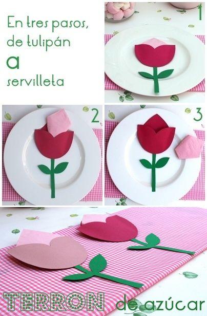 Manualidades con niños... un servilletero tulipán