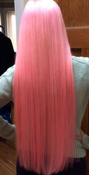 Long straight pink hair