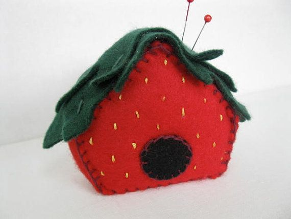 Strawberry Birdhouse Pincushion PDF Pattern on Etsy, $4.34 CAD