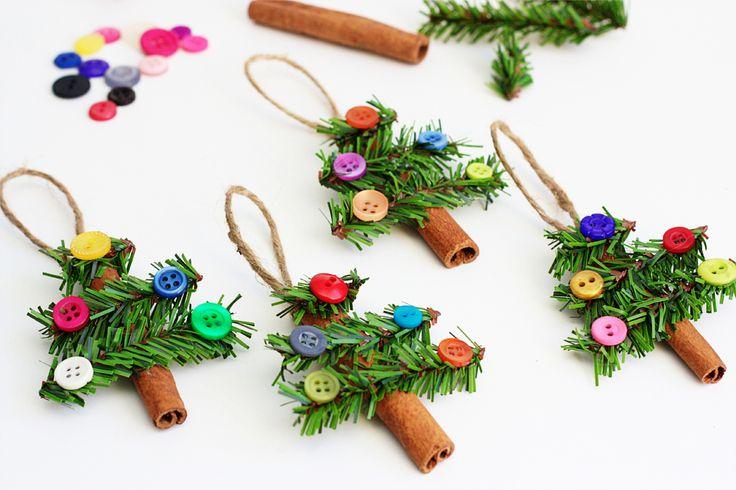 Adorable Cinnamon Stick Tree Ornaments