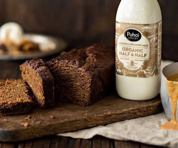 RECIPE: Gingerbread Loaf Cake with a Puhoi Valley Half & Half Caramel Sauce and a big dollop of vanilla ice cream.