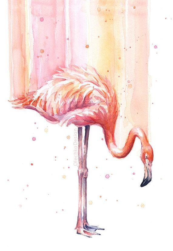 Flamingo acuarela, arte flamenco, lluvia rosa, impresión del arte de aves tropicales, aves exóticas, impresión del Giclee arte, arte flamenco, vivero Decor