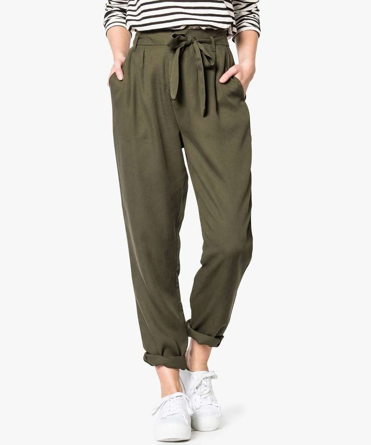 Pantalon ample en lyocell Kaki