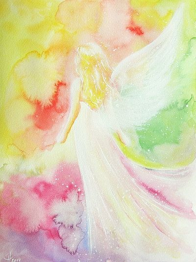"""Original angel painting """"easiness"""" , abstract spiritual mystic art painted with watercolors, modern contemporary artwork,colorful, gift"""