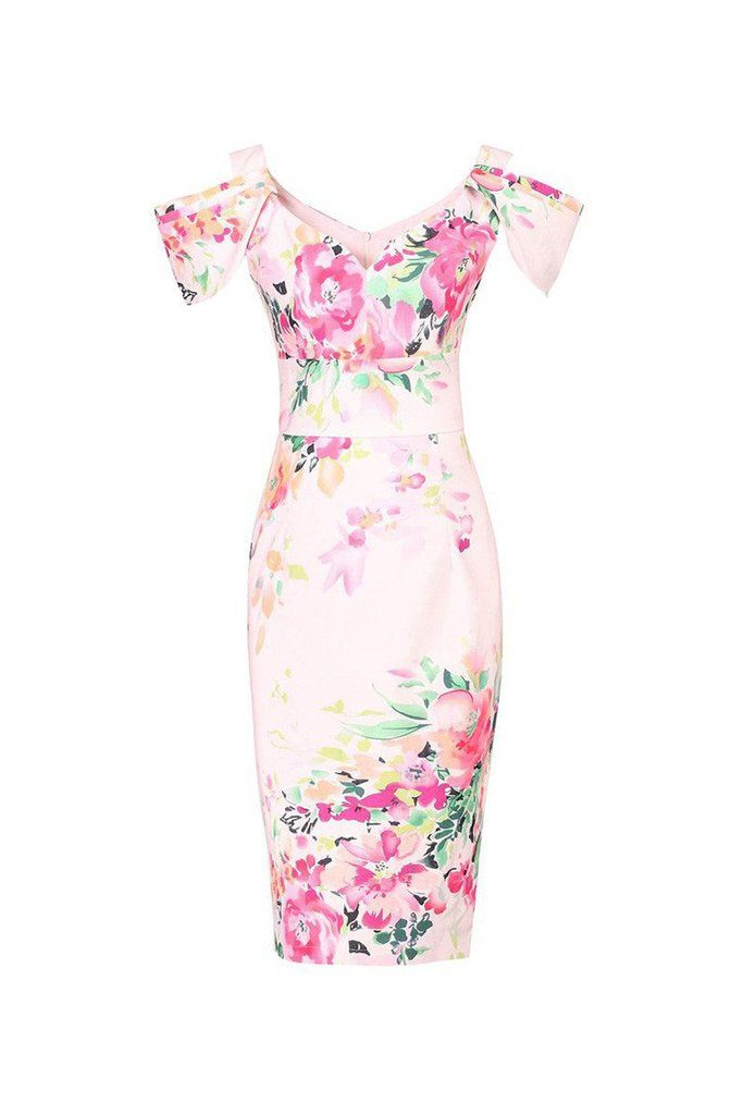 Pink V Neck Cold Shoulder Bardot Wiggle Pencil Dress