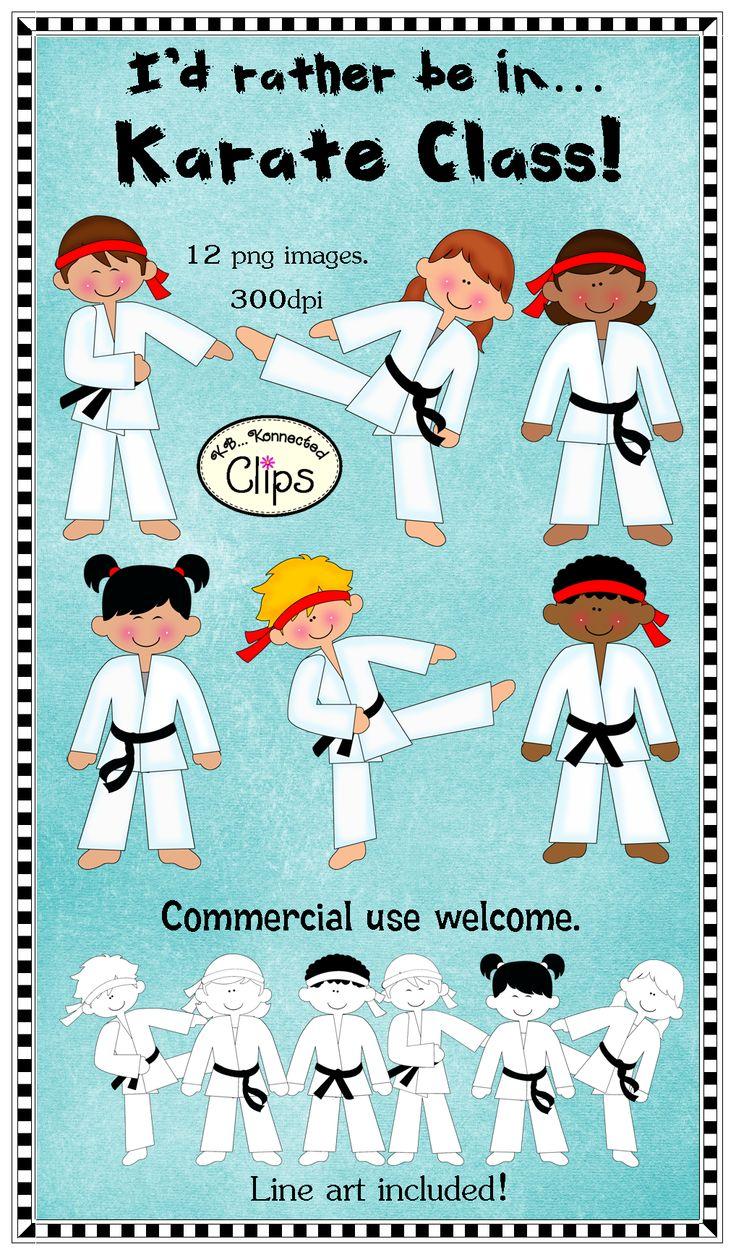 Karate Kids! Includes line art too. $ Commercial use welcome. http://www.teacherspayteachers.com/Product/Clip-Art-Id-rather-bein-Karate-Class-811105