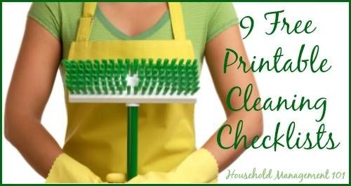 9 free printable cleaning checklists