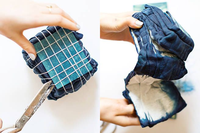 Rinse the garment (still bound) of any excess dye until the sink water runs clear. Then it's the moment of truth—cut or undo the rubber bands and pieces of wood, and unfold your transformed, chic new 'fit.