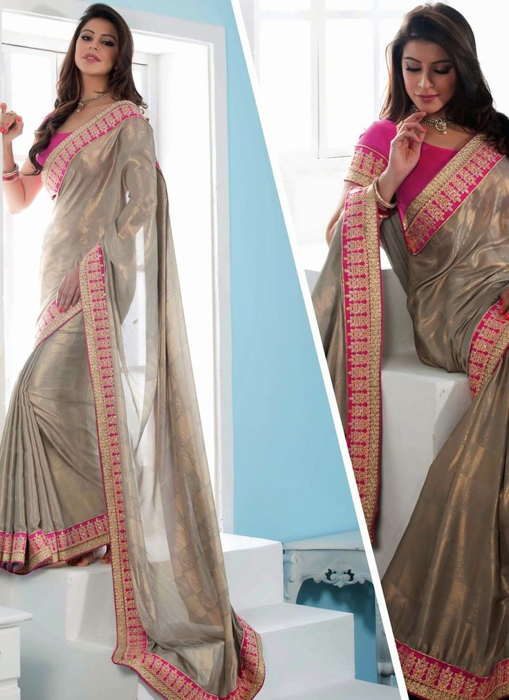 Pink & Gray Jacquard Saree With Border Work