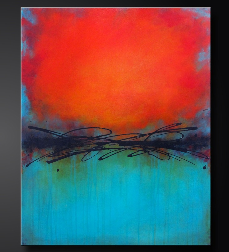 "Turquoise Gem 2 - 24"" x 30"" - Abstract Acrylic Painting - Contemporary Design- Modern Wall Art. $250.00, via Etsy."