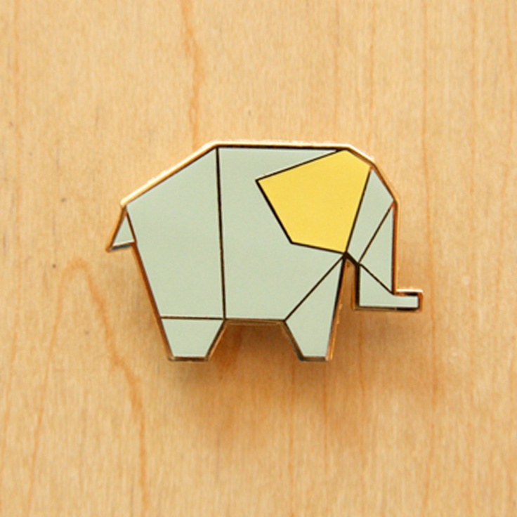 Image of Origami pin : Elephant, Deer