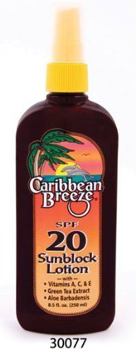 Caribbean Breeze-SPF 20 SunScreen Spray Lotion, 8.5 oz (250 ml) by Caribbean Breeze. $10.29. Vitamin Enriched. WARNINGS: For external use only.  Discontinue use if signs of irritation or rash appear.  If irritation or rash persists, consult a physician. Keep Out Of Reach Of Children. Do not swallow. If swallowed, get medical help or contact a Poison Control Center immediately.  Avoid contact with eyes. If contact occurs, rinse eyes thoroughly with water. UV exp...
