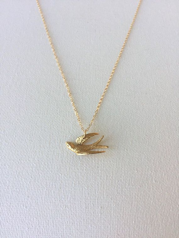 Peace Sparrow Dove Flying Bird Cut Out Silver Metallic Pendant Necklace Jewelry