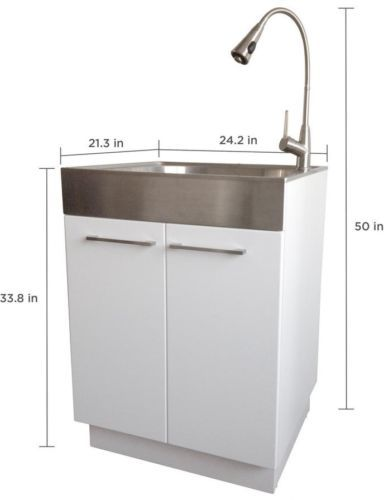 Stainless Steel Laundry Utility Sink Tub Faucet Cabinet Storage Wash