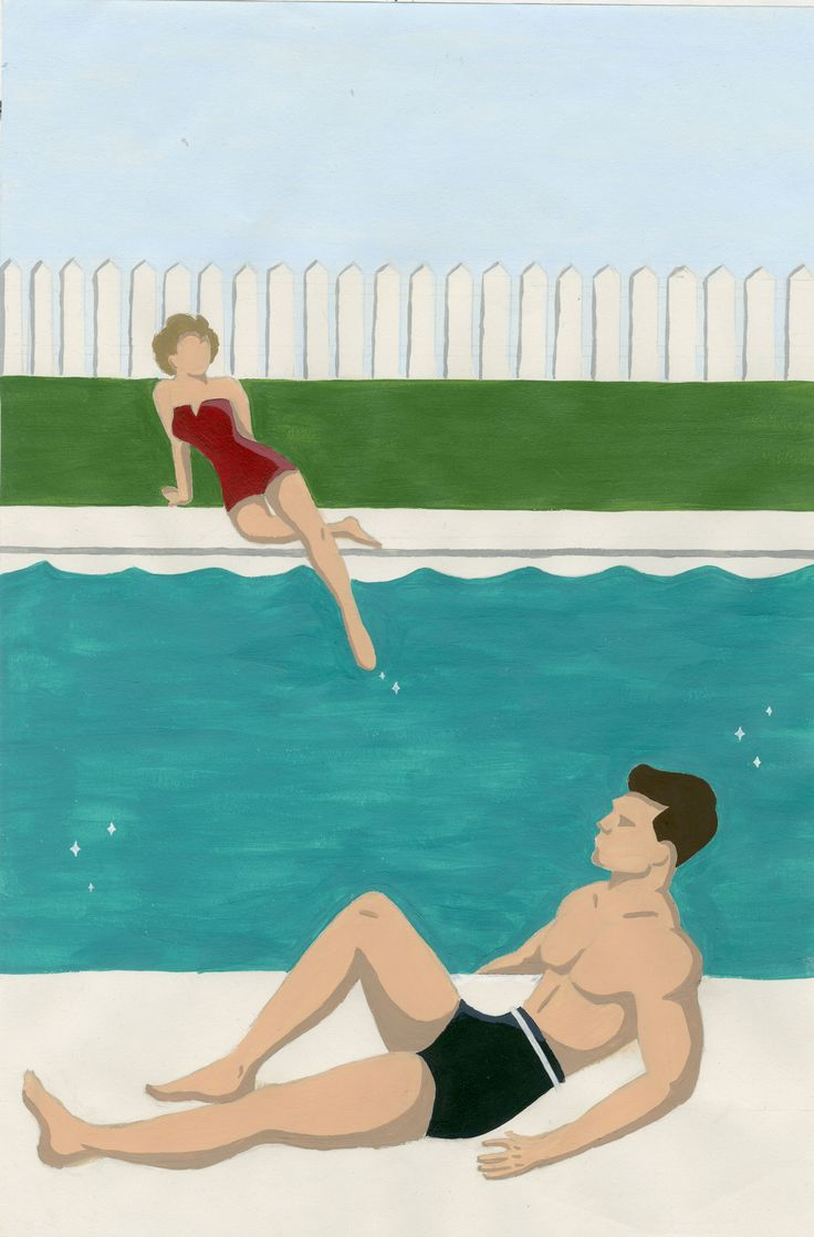 "BA illustration fiction project  John Cheevers ""the swimmer"""