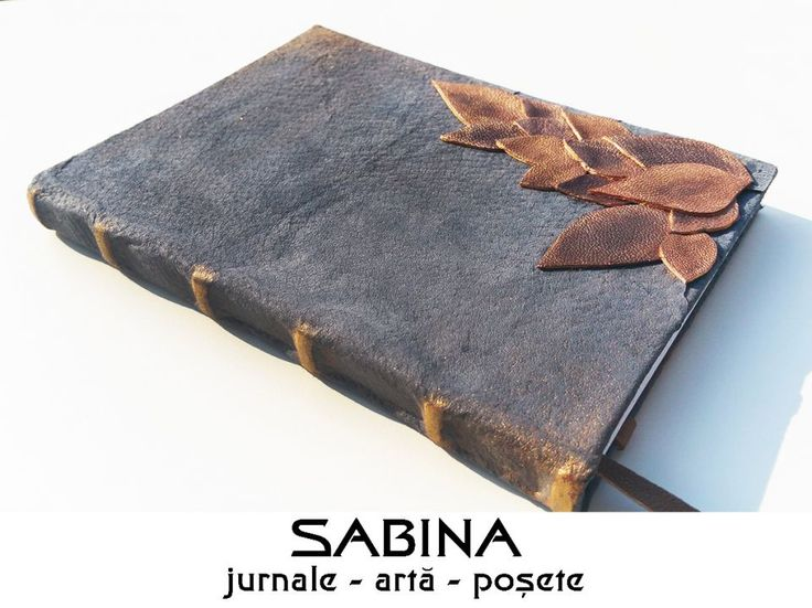 Jurnal A5, cu frunze aramii - Jurnal de toamna - jurnal de calatorie - agenda personalizata - frunze de piele pictate