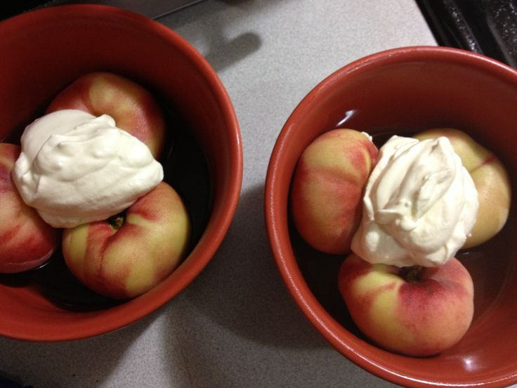 Doughnut Peaches in Bourbon with Sweetened Whipped Cream