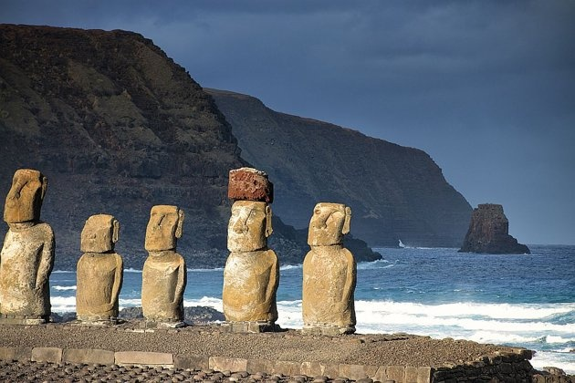 Mysterious Easter Island is 2000 miles off the coast of Chile, South America in the Pacific Ocean.