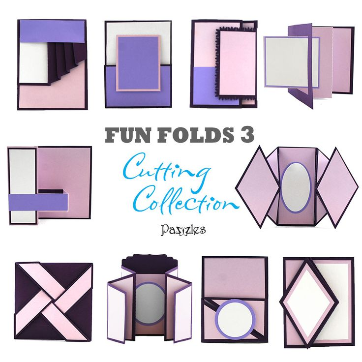 Fun Folds 3 Cutting Collection! 10 different cards with cool folds. SVG and WPC cut files so you don't have to measure and score! Make some wow cards with these cool card folding techniques from Pazzles.