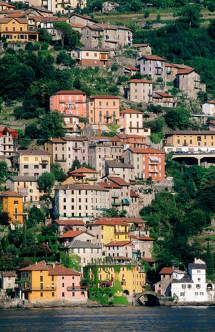 Nesso viewed from Lake Como, Lombardy, Italy
