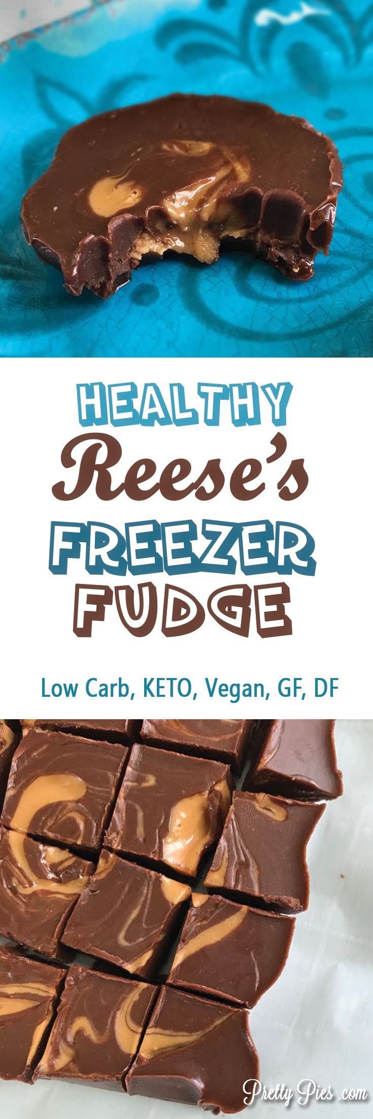 This melt-in-your-mouth, LOW CARB Freezer Fudge has all the deliciousness of a Reese's peanut butter cup, but none of the sugar or junk. Just 6 real-food ingredients that come together in a snap.#lowcarb #keto #vegan Free from gluten, grains, dairy, sugar, soy and eggs. - PrettyPies.com
