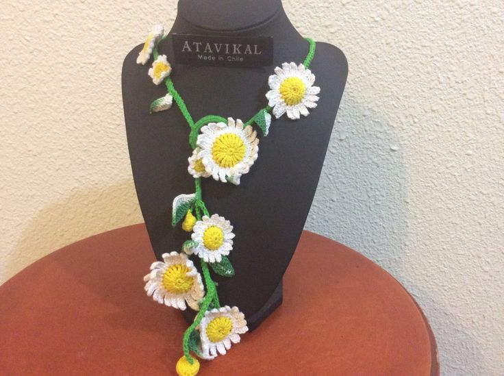Spring daisy flowers handmade crochet knitted scarf necklace cotton yarn by Atavikals on Etsy