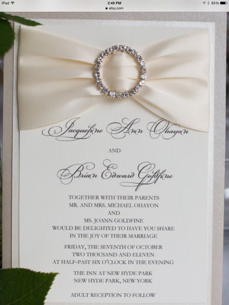 Bling wedding invitation ivory and champagne elegant