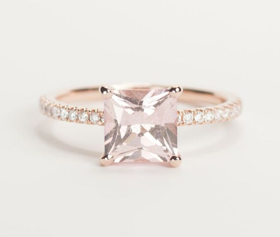 SALE - Certified Peach Pink Champagne Square Princess Sapphire Diamond Engagement Ring 14K Rose Gold