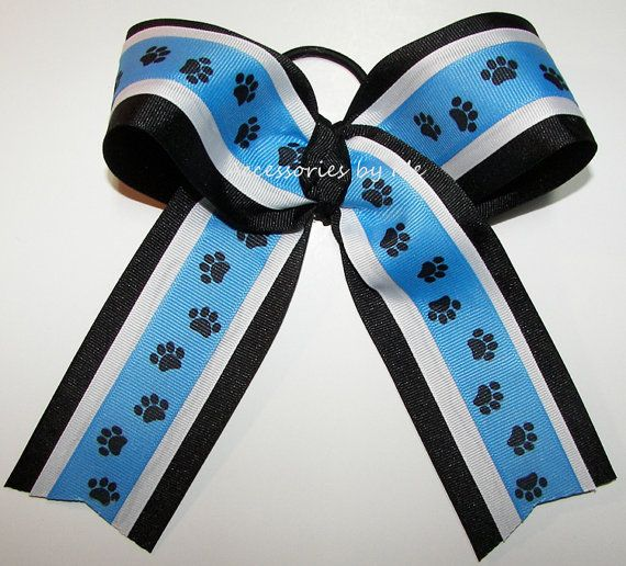 Paw Print Cheer Bow Carolina Blue Black by accessoriesbyme on Etsy