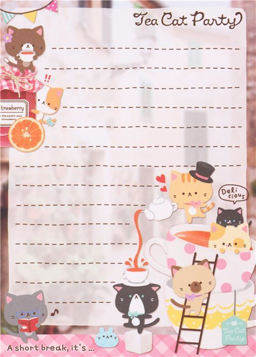 kawaii cat tee cup animal Note Pad Q-Lia 3