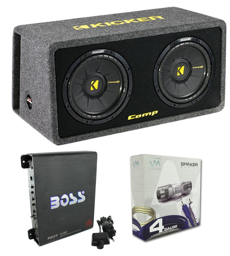 "Kicker 40DCWS122 12"" 1200W Car Audio Subwoofer Sub Enclosure+Mono Amplifier Amp. New Kicker 40DCWS122 12"" 600 Watt Dual Loaded Car Audio Subwoofer Sub Enclosure. Power Handling. Peak Power: 1200 Watt. RMS Power: 600 Watt. Impedance: 2-Ohm."
