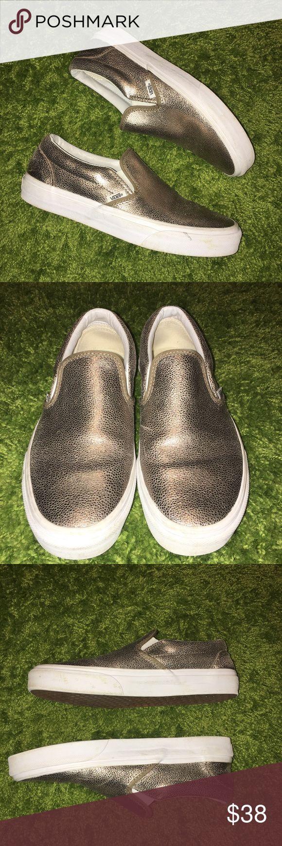 🚨SALE🚨Vans Slip On Sneakers Gold Vans Slip On Sneakers. Metallic Gold. Women's size 9. Shoes have been Worn lightly. Vans Shoes Sneakers