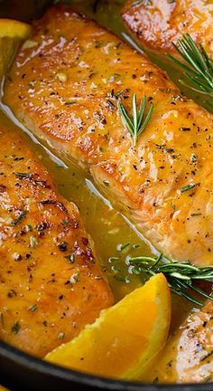 This skillet salmon makes for the perfect weeknight meal yet it's something fancy enough to serve to guests on the weekend. It's full of vibrant orange flavor which pairs perfectly with the fresh rosemary.