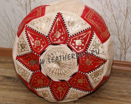 Марокканский кожаный пуф, натуральная кожа, ручная работа, модель Фез, цвет красный