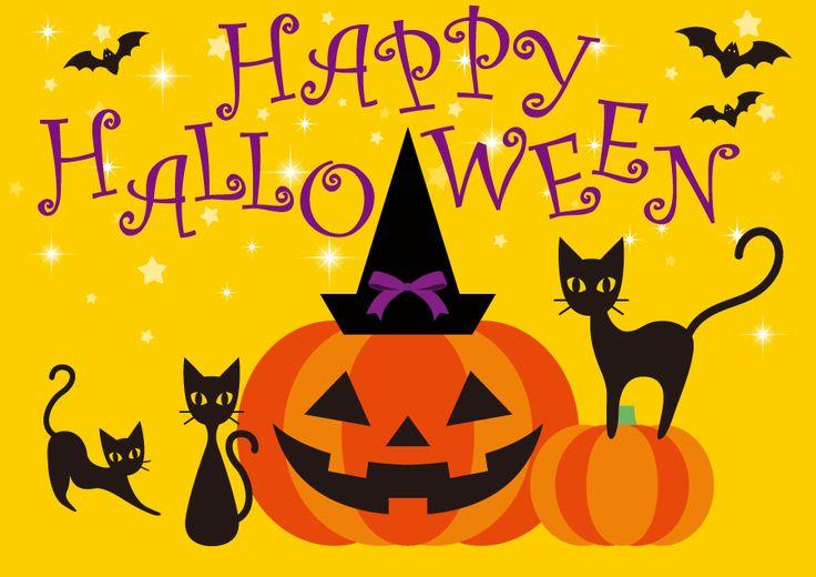 フリー イラストジャックランタンと黒猫のハロウィン背景