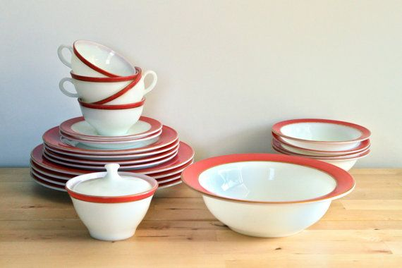 Pink Pyrex Dishes  Vintage 1950s Coral or by KitchenCulinaria, $95.00