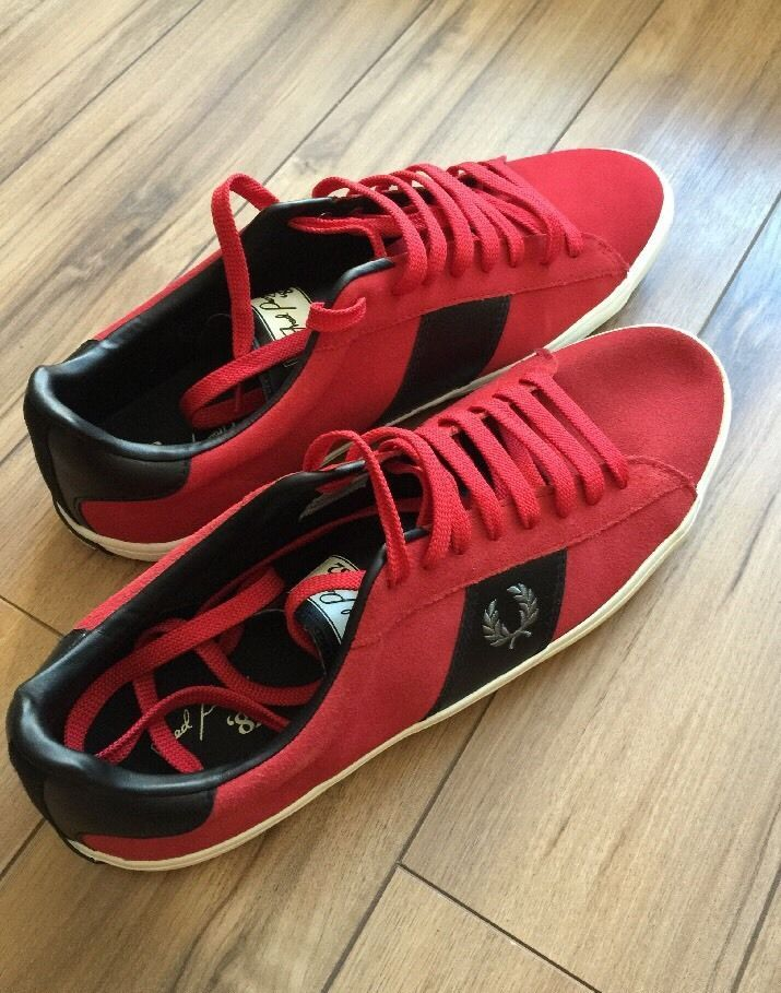 Fred Perry Mens Howells Suede Red Shoe Trainer Sneaker Size 11 S15  | eBay