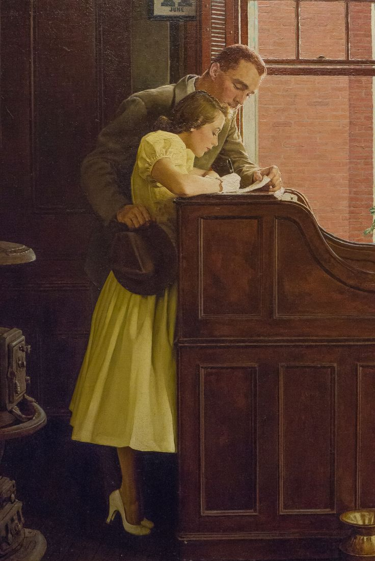 'Marriage License' (close-up) - by Norman Rockwell, 1955 (oil on canvas)