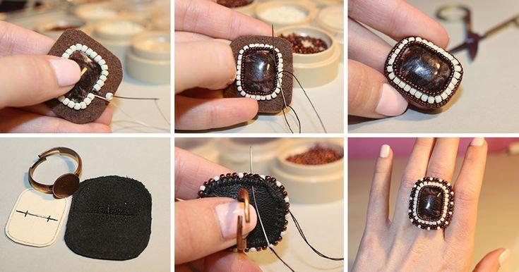 В своем первом мастер-классе я поделюсь с вами, как сделать кольцо в технике вышивки бисером на металлической основе со шляпкой, покажу незамысловатый способ обшить кабошон, а также как спрятать нить в конце работы. Подобные кольца отлично смотрятся на изящных пальчиках; это оригинальное стильное украшение как для бизнес-леди, так и для любительниц стиля бохо-шик и его разновидностей. Итак,…