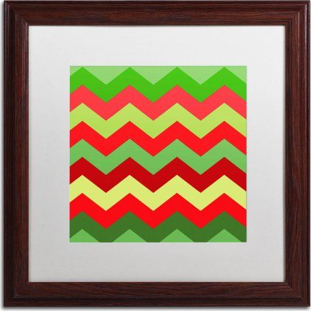 Trademark Fine Art Xmas Chevron Canvas Art by Color Bakery, White Matte, Wood Frame, Size: 16 x 16, Assorted