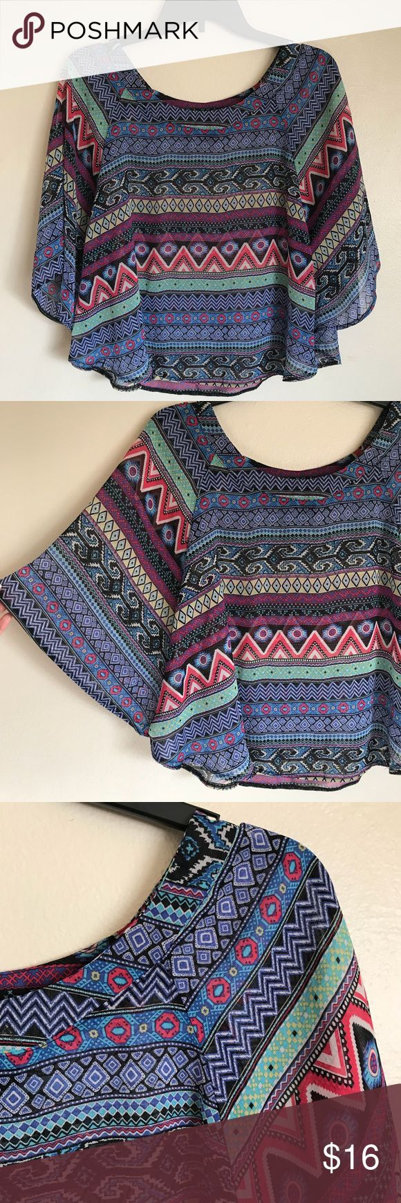 💖Colorful tribal Aztec print 💖 About a girl beautiful Batwing shirt ! Size medium ! In great condition About A Girl Tops Blouses