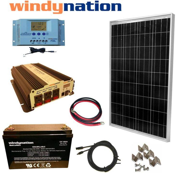 100W 12V Solar Panel Kit + 1500W Inverter + 100ah AGM Battery RV Boat Off Grid | Home & Garden, Home Improvement, Electrical & Solar | eBay!