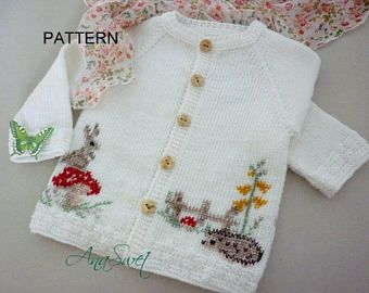 Baby knitting patterns.Pattern baby cardigan.Baby cardigan
